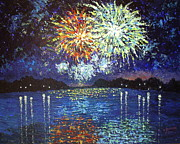 Fireworks Paintings - Fireworks at Lake St Louis by Valerie Rovira