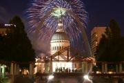 Cityscape Glass Art Metal Prints - Fireworks at the Arch 1 Metal Print by Marty Koch