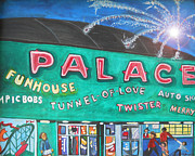 Asbury Park Painting Prints - Fireworks at the Palace Print by Patricia Arroyo