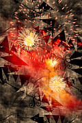 Susan Leggett Digital Art Metal Prints - Fireworks Background Metal Print by Susan Leggett