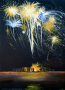 Cape Cod Paintings - Fireworks Bonfire on the West bar by Charles Harden