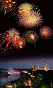 Pyrotechnics Framed Prints - Fireworks Display Over Niagara Falls Framed Print by Tony Craddock