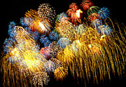Dark Skies Metal Prints - Fireworks Exploding  Metal Print by Garry Gay