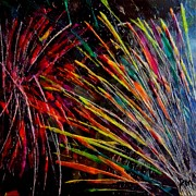 Fireworks Paintings - Fireworks in Bled by Dragica  Micki Fortuna
