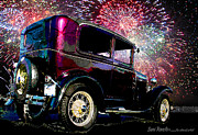 Ford Model T Car Painting Posters - Fireworks In The Ford Poster by Suni Roveto