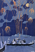 Romantic Art Prints - Fireworks in Venice Print by Georges Barbier