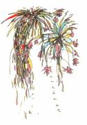 Burst Drawings Prints - Fireworks IV Print by Gabe Art Inc