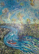 Fireworks Paintings - Fireworks by Jenny Saltzman