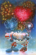 4th July Paintings - Fireworks by John Rowe