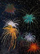 Fourth Of July Painting Framed Prints - Fireworks Framed Print by Julia Collard