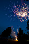 July Framed Prints - Fireworks Launching And Exploding Framed Print by Greg Dale