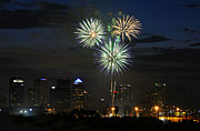 Tampa Bay Florida Prints - Fireworks of Tampa Print by David Lee Thompson