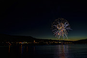 Granger Photography Photos - Fireworks on the River by Brad Granger