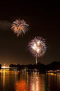 Brightly Lit Prints - Fireworks Over a river Print by Ulrich Schade