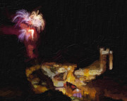 Fireworks Paintings - Fireworks Over Blackhawk Colorado by David Renner