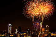 Mecklenburg County Prints - Fireworks over Charlotte Print by Patrick Schneider