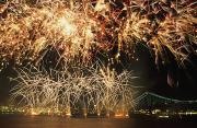 Fire Crackers Prints - Fireworks Over Harbour Print by Axiom Photographic
