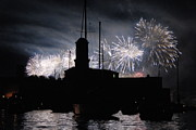 Bastille Photo Prints - Fireworks over Marseilles Vieux-Port on July 14th Bastille Day Print by Sami Sarkis