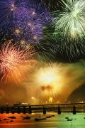 Colour Image Photos - Fireworks Over Montmorency Falls, Quebec by Yves Marcoux