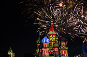 Onion Dome Framed Prints - Fireworks Over St Basils Cathedral In Red Square Framed Print by Keren Su