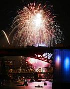 Fireworks Over The River Print by Keith Dillon