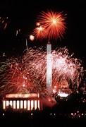 Inaugurations Framed Prints - Fireworks Over The U.s. Capitol Mall Framed Print by Everett
