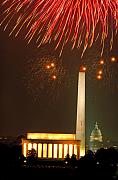 Bursting Prints - Fireworks over Washington DC Mall Print by Carl Purcell