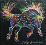 Fireworks Paintings - Fireworks Pony by Louise Green