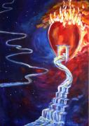 Strength Paintings - Firey Heart of God by Judy Ross