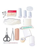 Gauze Posters - First Aid Kit Equipment, Artwork Poster by Peter Gardiner