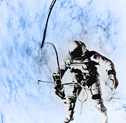 White Suit Framed Prints - First American Eva, Gemini 4 Mission Framed Print by Omikron