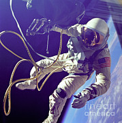 Science Photo Posters - First American Walking In Space, Edward Poster by Nasa