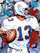 Dan Marino Framed Prints - First and Ten Framed Print by Maria Arango