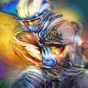Football Paintings - First and Ten by Mike Massengale