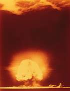 Atom Bomb Prints - First Atomic Explosion At Los Alamos Print by Los Almos National Laboratory