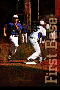 Pastime Mixed Media Posters - First Base Poster by John Turek