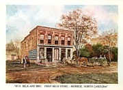 Country Store Painting Framed Prints - First Belk Store Framed Print by Charles Roy Smith