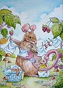 Mouse Mixed Media Posters - First Birthday Poster by Debbie  Diamond
