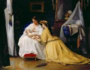 Victorian Dress Posters - First Born Poster by Gustave Leonard de Jonghe