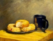 Coffee Mug Pastels Prints - First Call...Breakfast Print by Jack Skinner