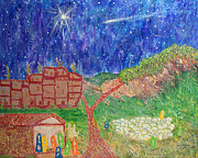 Star Of Bethlehem Painting Prints - First Christmas In Bethlehem Two K And Ten Print by Carl Deaville