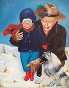 Christmas Cards Framed Prints - First Christmas Framed Print by Joni McPherson