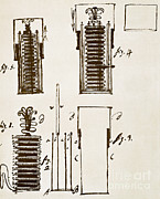 Alessandro Volta Prints - First Electric Battery Print by Science Source