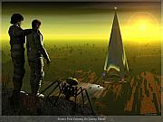 Sci-fi Picture Framed Prints - First Evening on Colony Planet Framed Print by Jim Coe