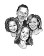 Obama Drawings Posters - First Family Poster by Murphy Elliott