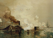 Historic Ship Painting Prints - First Fight between Ironclads Print by Julian Oliver Davidson