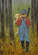Overalls Painting Posters - First Hunt Poster by Eunice Parker