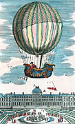 Aviation Pioneers Prints - First Hydrogen Balloon Flight, 1783 Print by Science Source
