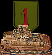 Big Red One Posters - First Infantry Division Bradley Fighting Vehicle Poster by Tommy Anderson