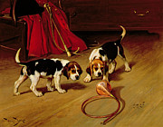 Beagle Puppies Paintings - First Introduction by Wright Barker